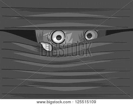 Illustration of an Agoraphobic Man Peeking from Behind His Venetian Blinds