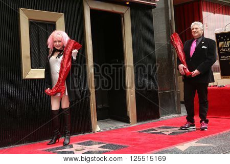 LOS ANGELES - APR 11:  Cyndi Lauper, Harvey Fierstein at the Harvey Fierstein and Cyndi Lauper Hollywood Walk of Fame Ceremony at the Pantages Theater on April 11, 2016 in Los Angeles, CA
