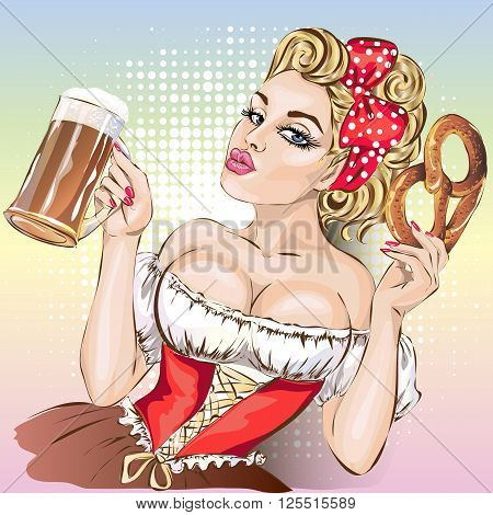 Oktoberfest Pin-up Woman With Beer And Pretzel Wearing German Traditional Dress Dirndl