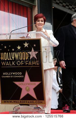 LOS ANGELES - APR 11:  Sharon Osbourne at the Harvey Fierstein and Cyndi Lauper Hollywood Walk of Fame Ceremony at the Pantages Theater on April 11, 2016 in Los Angeles, CA