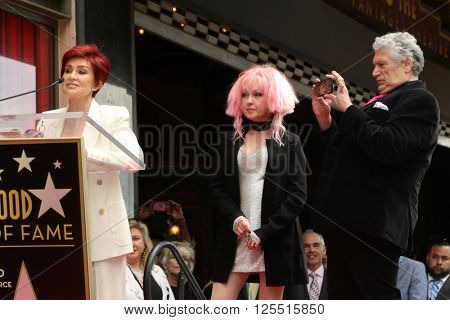 LOS ANGELES - APR 11:  Sharon Osbourne, Cyndi Lauper, Harvey Fierstein at the Harvey Fierstein and Cyndi Lauper Hollywood WOF Ceremony at the Pantages Theater on April 11, 2016 in Los Angeles, CA