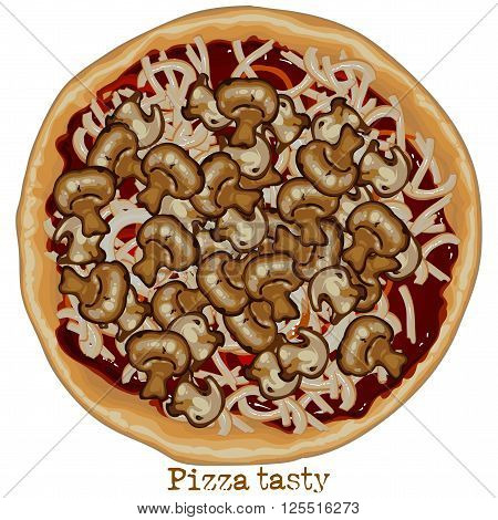 Pizza with mushrooms and sausage freehand drawing