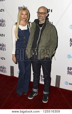 LOS ANGELES - APR 12:  Julie Mintz, Moby at the The Adderall Diaires Premiere Screening of A24/DIRECTV Series at the ArcLight Hollywood on April 12, 2016 in Los Angeles, CA