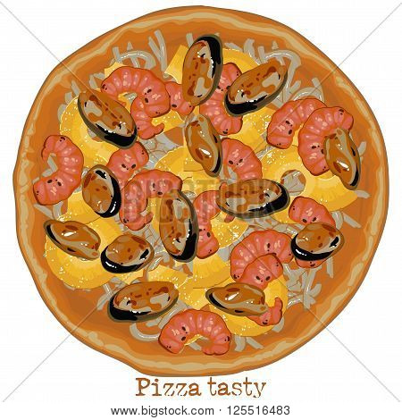 pizza with seafood and cheese freehand drawing