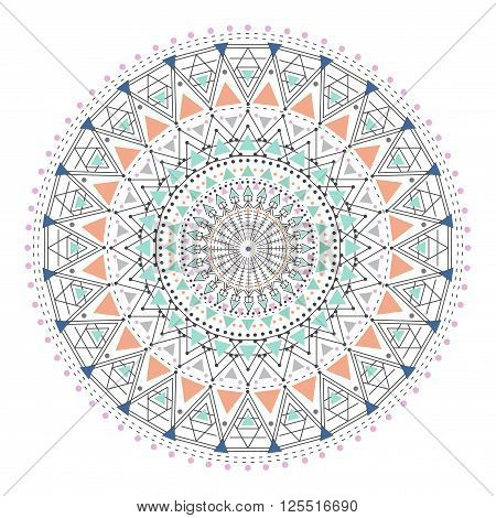 Trendy hipster colored circle, bright philosophical symbol, circular elements that are a religious, Aztec and African tattoo symbol, sacred geometry. Trendy hipster circle.