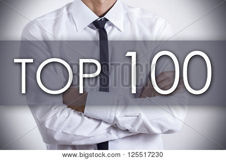 Top 100 - Young Businessman With Text - Business Concept