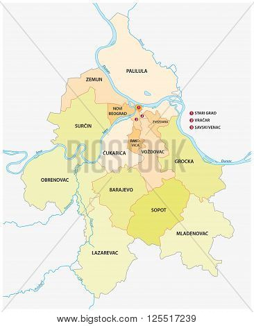 Belgrade (capital Serbia) neighbourhoods and suburbs map