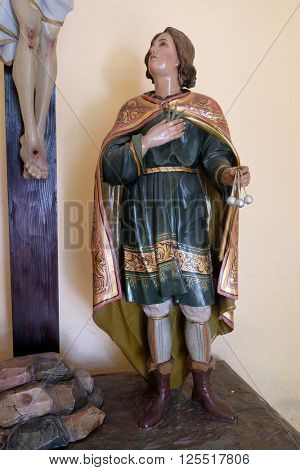 STITAR, CROATIA - AUGUST 27: Saint Vitus martyr in the chapel in the village Stitar, Croatia on August 27, 2015