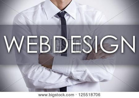 Webdesign - Young Businessman With Text - Business Concept