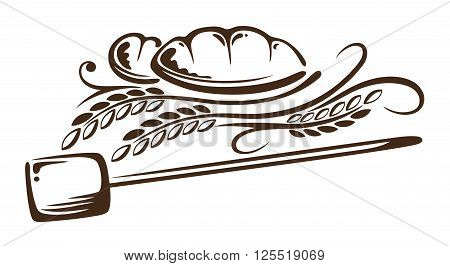 Vector design with cereal and bread. Decoration for bakers.