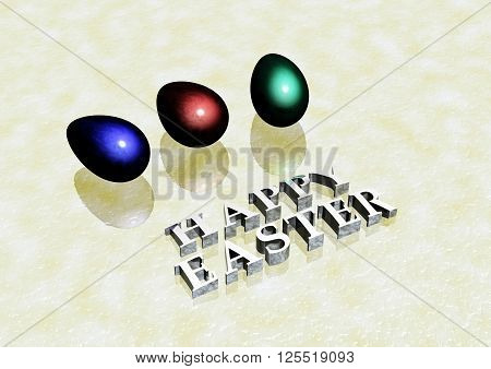 Dimensional inscription Happy Easter on white background. 3D render.