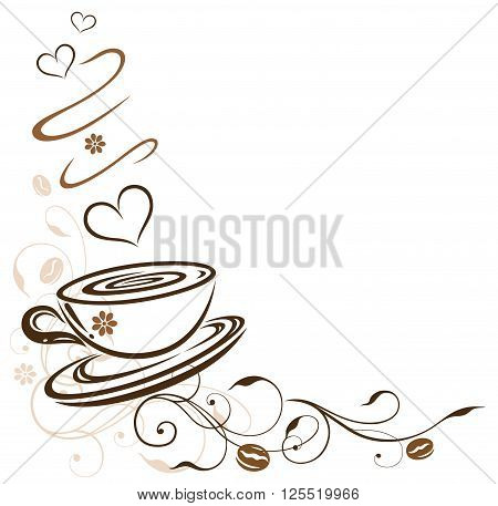 Coffee cup tendril with hearts and coffee beans.