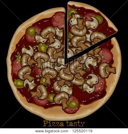 Pizza with mushrooms and sausage with a piece cut off freehand drawing