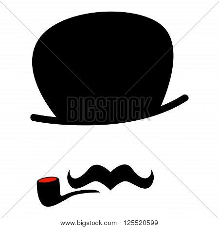 Vector Illustration of a Hipster Man with Mustache and Cigarette
