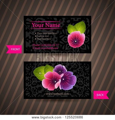 Business card with naturalistic floral composition of pink and violet flowers. Ready to use business cards. Business idea for corporate identity