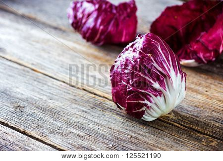 Fresh Radicchio Salad On  Wooden Background