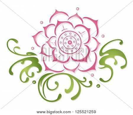 Lotus flower pink and green, beautiful waterlily, floral vector decoration.