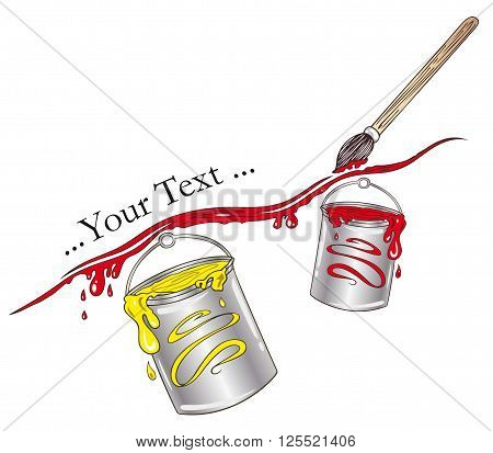 Painter and paintbrush design element, red and yellow.