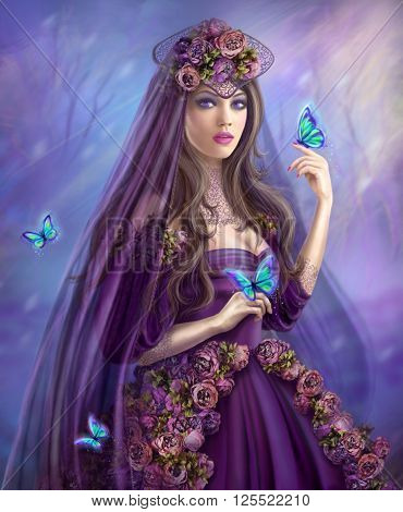 Beautiful woman fairy and blue butterflies fantasy