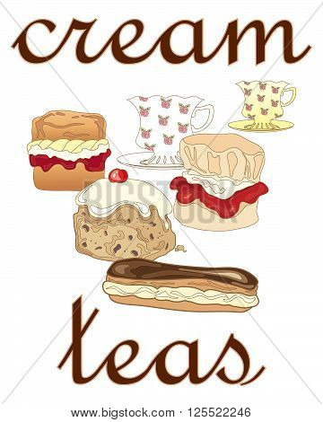 an illustration of a poster advert for cream teas with fancy cups and saucers and delicious cream buns on a white background