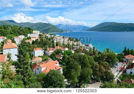HERCEG NOVI MONTENEGRO - SEPTEMBER 25 2015: Beautiful view of Herceg Novi with fortress wall Montenegro