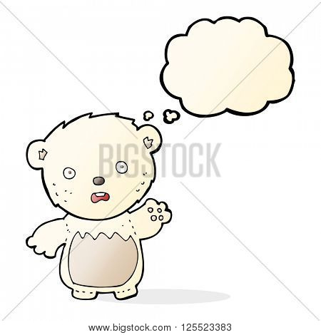 cartoon worried polar bear with thought bubble