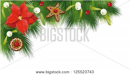 Colorful Christmas border, fir, poinsettia, mistletoe and gingerbread.