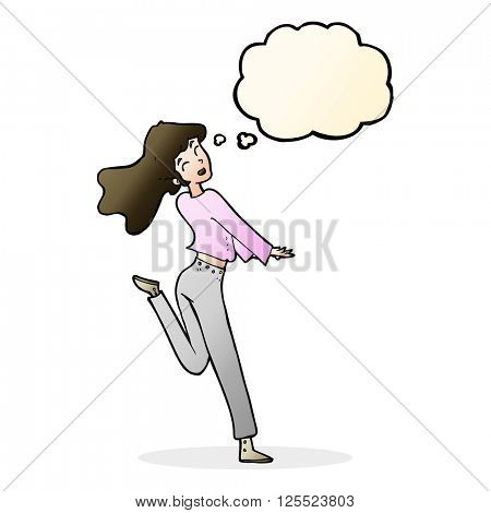 cartoon happy girl kicking out leg with thought bubble