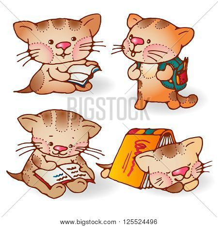 Illustration of funny cartoon kittens with books. Hand-drawn illustration. Vector set.