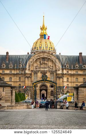 View On Les Invalides Building With Golden Dome, Paris