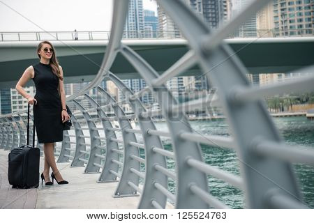 Elegant businesswoman carrying her luggage while traveling.