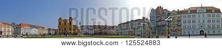 TIMISOARA ROMANIA - MARCH 202016: Panoramic view with historical buildings in Union Square Timisoara Romania.