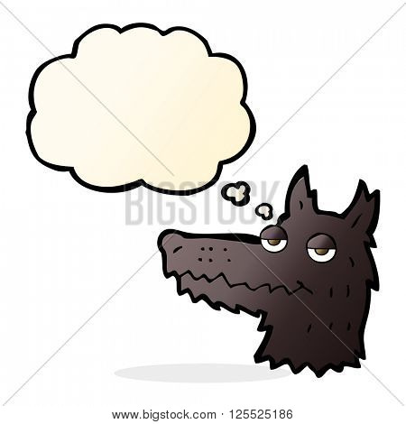 cartoon wolf head with thought bubble