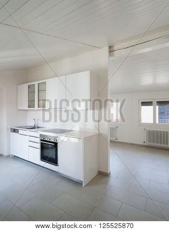 Interior, new domestic kitchen in old loft