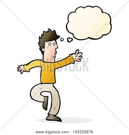 cartoon urgent man with thought bubble