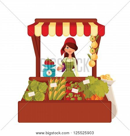Sale of farm vegetables in the market, vector cartoon woman sells fresh vegetables and fruits at the market, retail sales of fresh homemade products, agricultural products