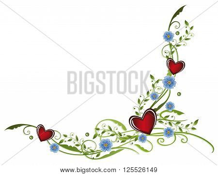Colorful spring time decoration, forget me not with hearts.