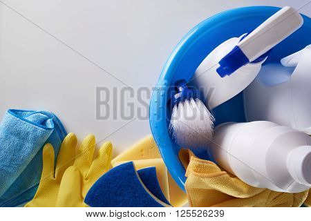 Professional Cleaning Equipment Background Top View