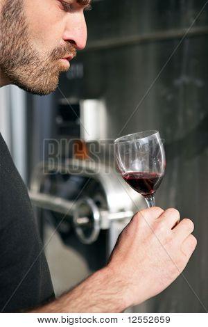Portrait of a man tasting wine