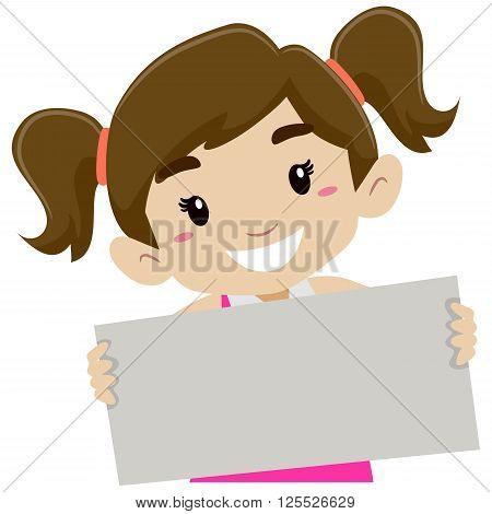 Vector Illustration of Little Girl Holding a Signage