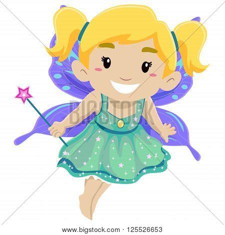 Vector Illustration of Little Girl Wearing Fairy Costume