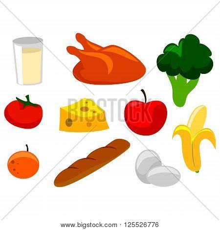 Vector Illustration Elements of Nutritious Food Icons