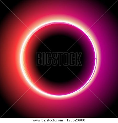 Neon circle. Neon red light. electric frame. Vintage frame. Retro neon lamp. Space for text. Glowing neon background. Abstract electric background. Neon sign circle. Glowing electric circle.
