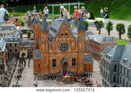 THE HAGUE, THE NETHERLANDS, July 5: Scale model of the Binnenhof, the Dutch House of Parliament, in Madurodam, a miniature park and a popular tourist attraction in the Netherlands. on July 5, 2012