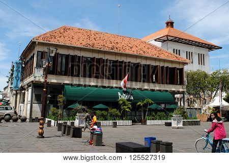 JAKARTA, INDONESIA, DECEMBER 15, 2014: Cafe Batavia, located in a historic building on Fatahillah Square in Kota, the old town of Jakarta, on December 15, 2014.