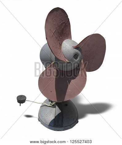 Old rusty brown electric fan isolated on white background