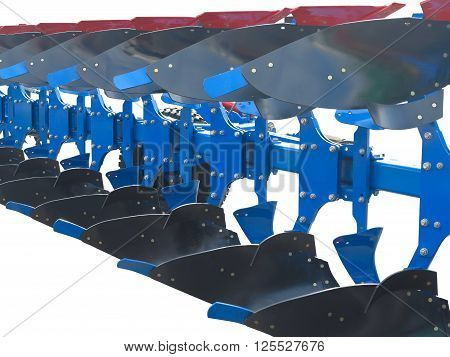 modern blue tractor plow row abstract isolated over white background