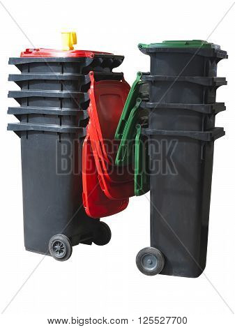 New black plastic garbage containers isolated over white background