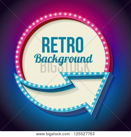 Volumetric retro sign with lights. Realistic round frame with arrows and lamps. Blank white space for your text, advertising, promotion. Neon pink and blue light falls on a black background.