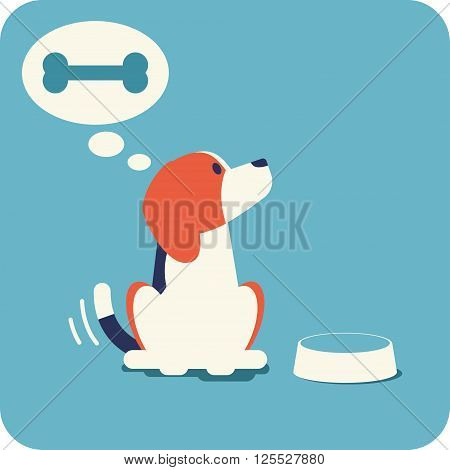 Beagle waiting for feeding. Cute beagle sitting near the bowl, wag its tail and dreaming about appetite bone. Flat design illustration.